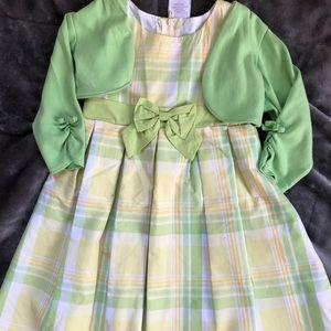 Adorable Spring Plaid Dress and Bolero 3T